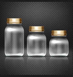 Empty glass jars with lods for grandma kitchen vector