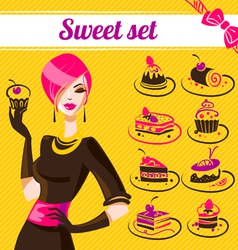 Sweet set cakes icons vector image