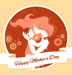 Vintage beautiful silhouette of mother and baby vector