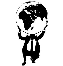 Businessman holding the earth globe vector