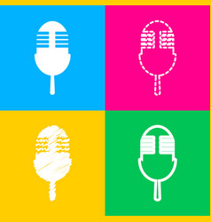 retro microphone sign four styles of icon on four vector image