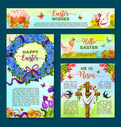 Easter holiday cartoon banner poster template set vector