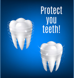 3d white teeth protection for dentistry vector