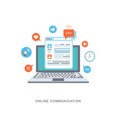 Online communication flat with icons vector