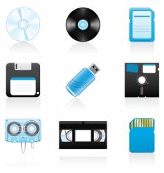 storage media icons vector image