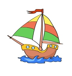 boat cartoon colorful on a white background vector image