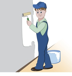 Worker with roller and paint vector