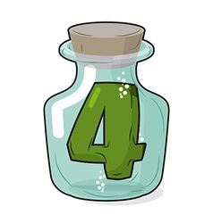 4 in laboratory bottle Figure magic vessel with a vector image vector image