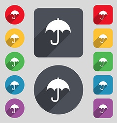 Umbrella icon sign a set of 12 colored buttons and vector