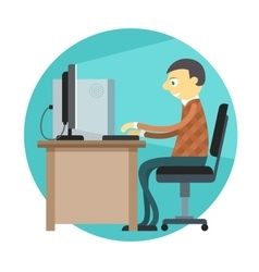 Office man working by vector