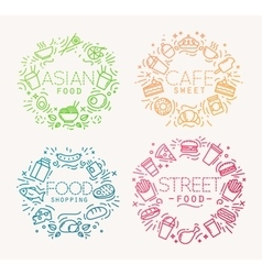 Food monograms color vector