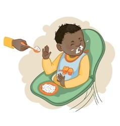 African american baby boy refuses to eat pap vector