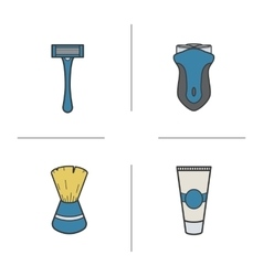 Shaving accessories icons vector