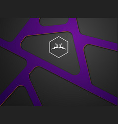 abstract purple modern on black vector image vector image