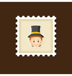 American Pilgrim children stamp Thanksgiving day vector image vector image