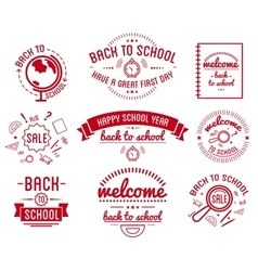 Back to school typography designs label set vector