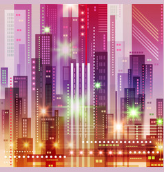 Background with night city futuristic vector