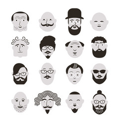 Black and white faces of men vector