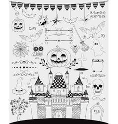 Black hand sketched doodle halloween icons vector