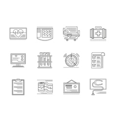 Cardiology elements linear icons set vector image