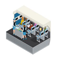 Colored airplane interior isometric composition vector