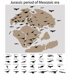 Dinosaurs of jurassic period on map vector image