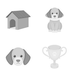 Dog house protective collar dog muzzle cup dog vector