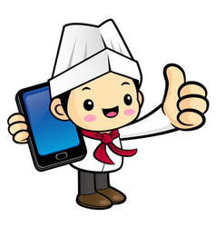 executive chef character is holding a smartphone vector image