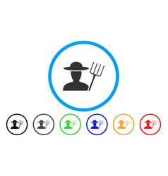 farmer with pitchfork rounded icon vector image vector image