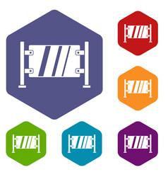 glass gate icons set hexagon vector image