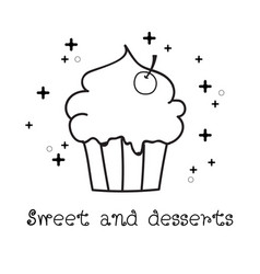 hand drawn of cupcake doodle doodle art vector image