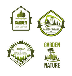 icons for landscape or gardening company vector image vector image