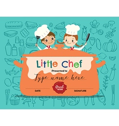 Kids cooking class certificate design template vector