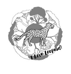 Leopard and savanna trees print vector