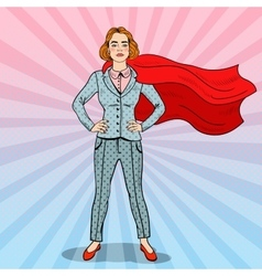 Pop art confident business woman super hero vector