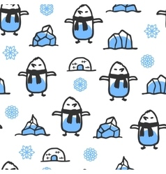 Seamless pattern with cute doodle penguin vector