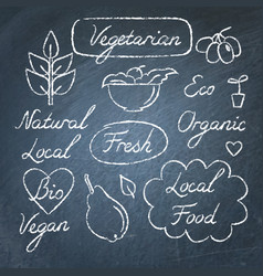 set of eco food lettering and symbols on vector image vector image