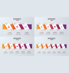 Set of paper style infographic timeline designs vector