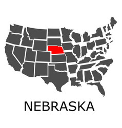 state of nebraska on map of usa vector image