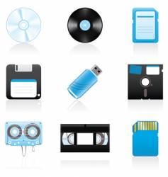 storage media icons vector image