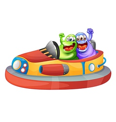 Two monsters playing with the bumpcars vector image vector image