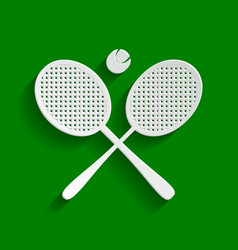 Two tennis racket with ball sign paper vector