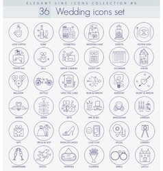 Wedding Outline icon set Elegant thin line vector image