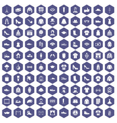 100 fashion icons hexagon purple vector image vector image