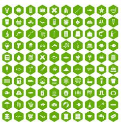 100 fish icons hexagon green vector