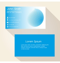 Blue abstract sphere from dots business card vector