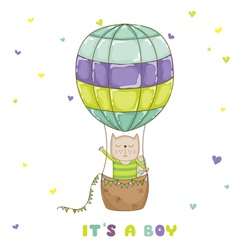 Baby cat with a balloon - baby shower card vector