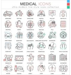 Medical medicine color flat line outline vector