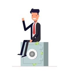 Businessman or manager sits on a private safe vector