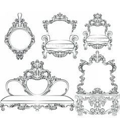 Great collection of baroque style furniture vector